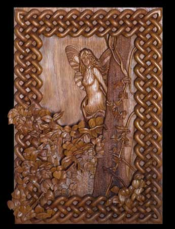 High relief woodcarving - Forest Fairy and Celtic Knot