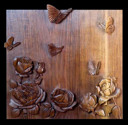 High relief woodcarving  black walnut
