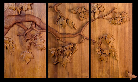 James atkin high relief wood carving
